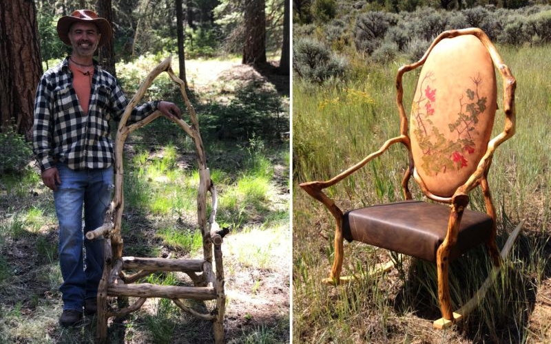 Denver man uses tree branches to create exquisite rocking chairs