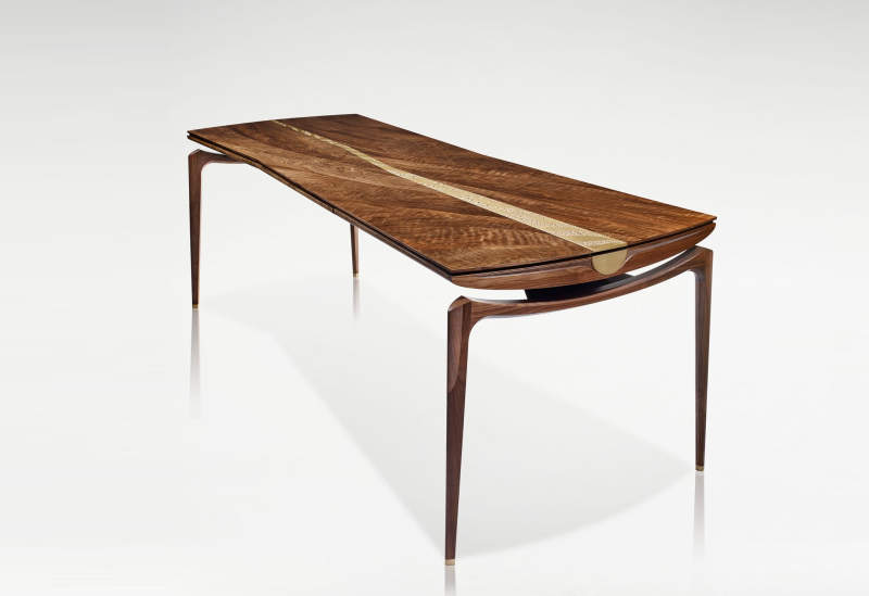 Fulbeck desk by Linley is made from 400-year-old walnut rescued from 2007 flood