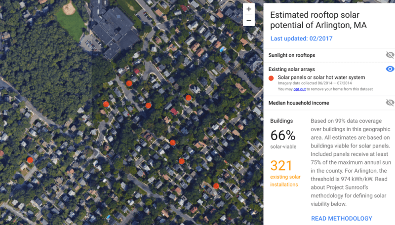 Google's Project Sunroof helps estimate rooftop solar potential