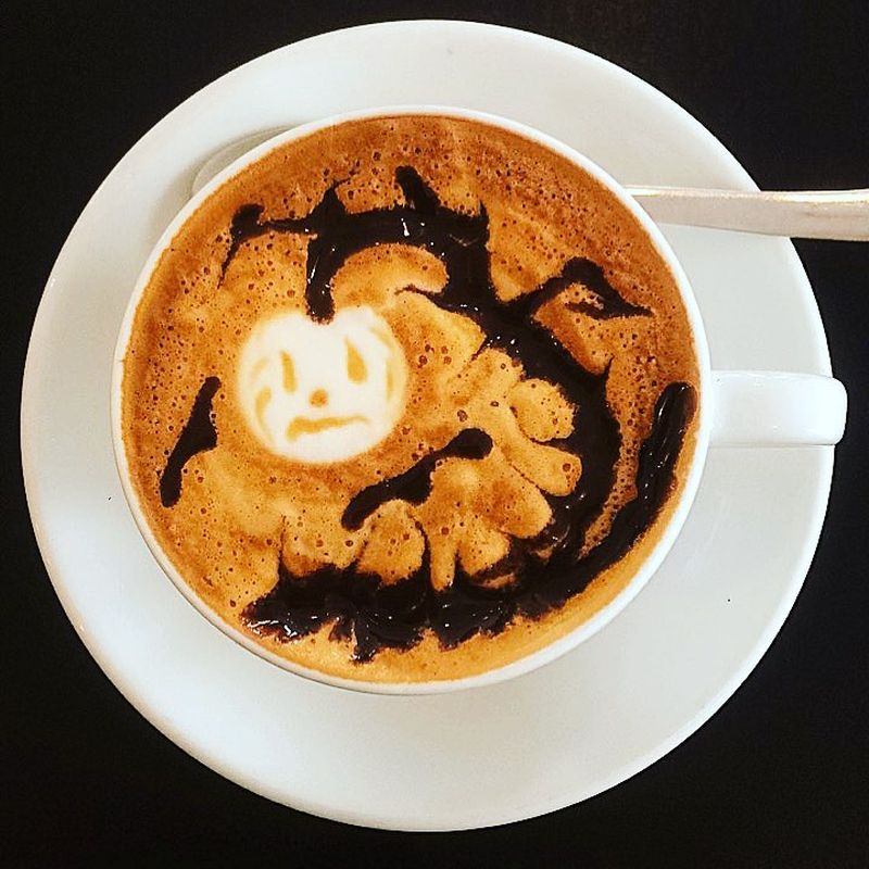 Halloween latte art