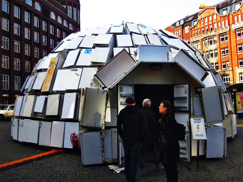 Igloo made from 300 refrigerators1