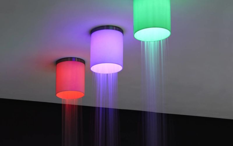 Iride by Antonio Lupi is both ceiling showerhead and LED lantern