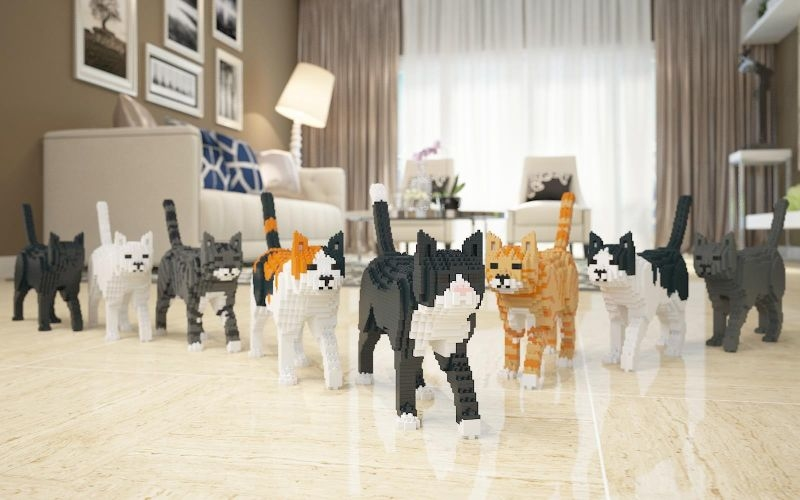 Both kids and adults will go crazy for these Lego cat sculptures