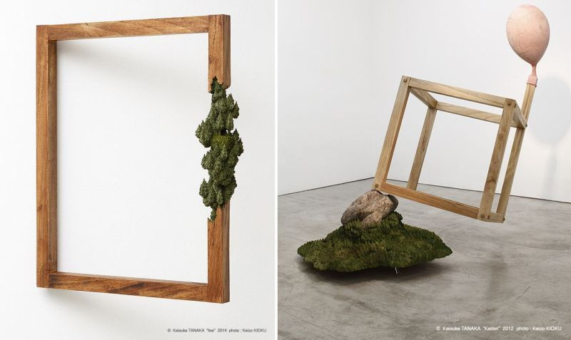 Keisuke Tanaka sculpts whimsical landscapes on wooden frames