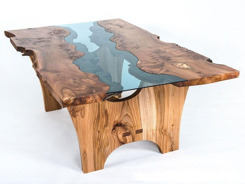 Live edge oak wood slab river table from Urban Fabrications