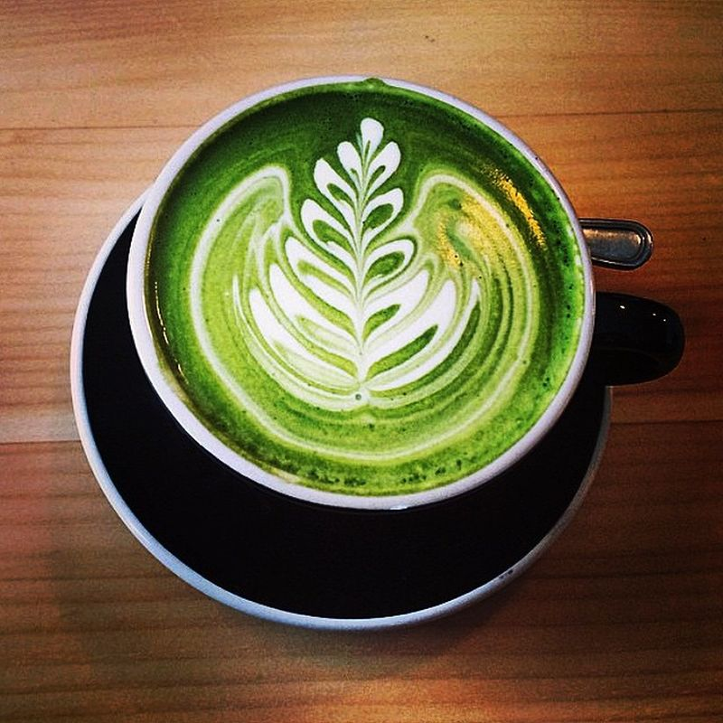 Matcha green tea latte art