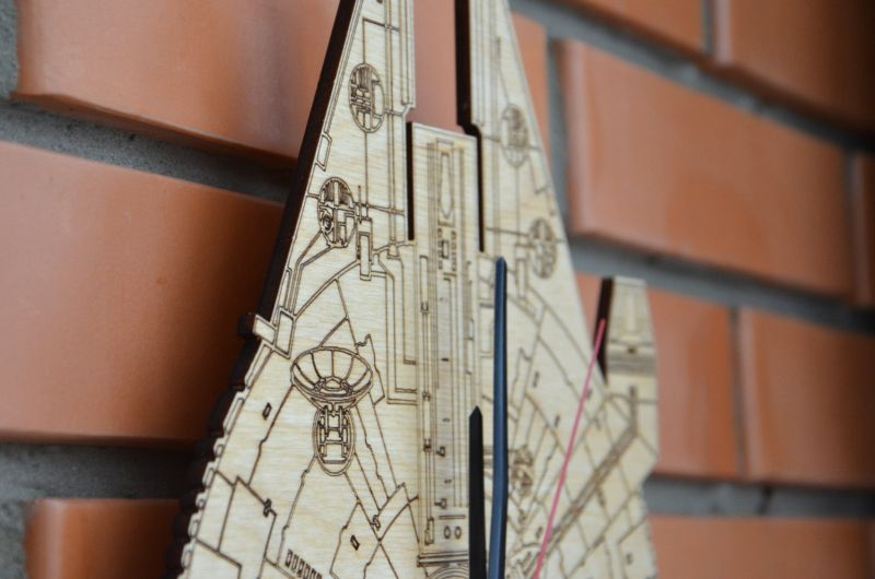 Millennium Falcon wooden wall clock