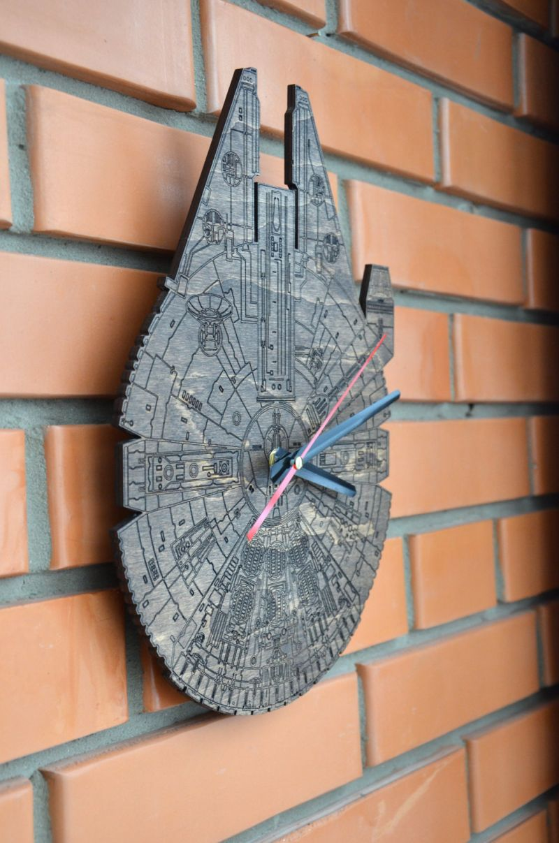 Millennium Falcon wooden wall clock