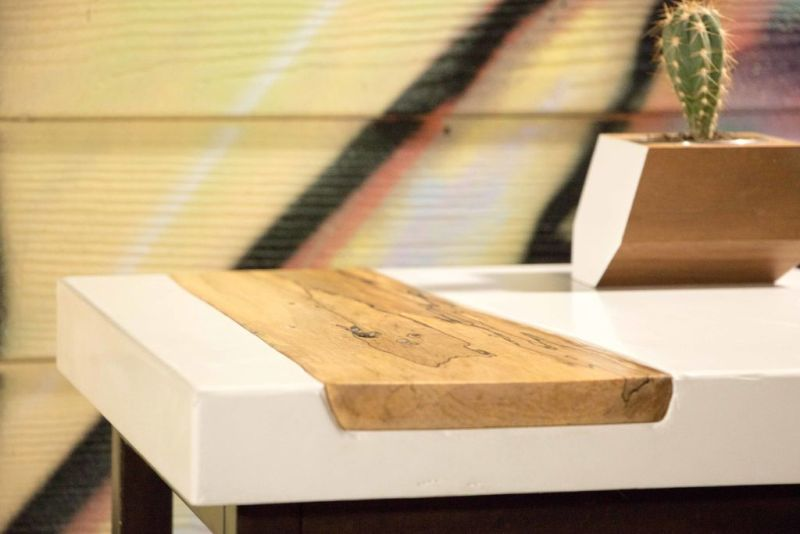 Modustrial Maker's DIY white concrete side table with live edge maple wood inlay