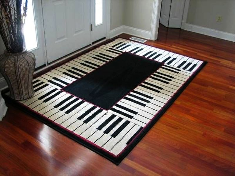 Music-themed floor tiles and rugs