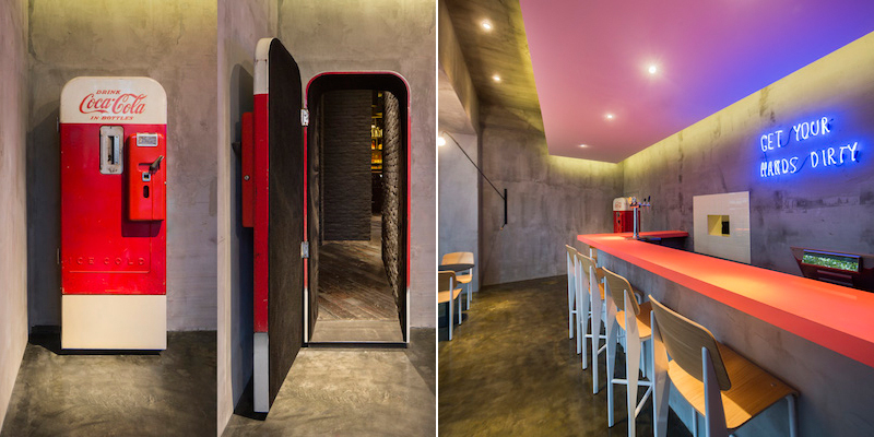Old Coca Cola fridge repurposed into a door