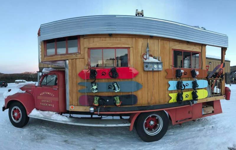 Pro snowboarder turns 1953 GMC fire truck into a fancy home on wheels