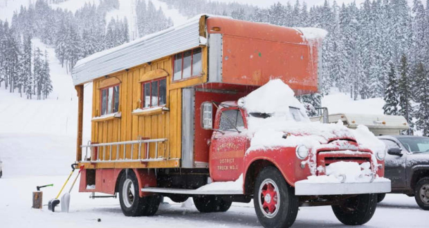 Pro snowboarder turns 1953 GMC fire truck into a fancy home on wheels
