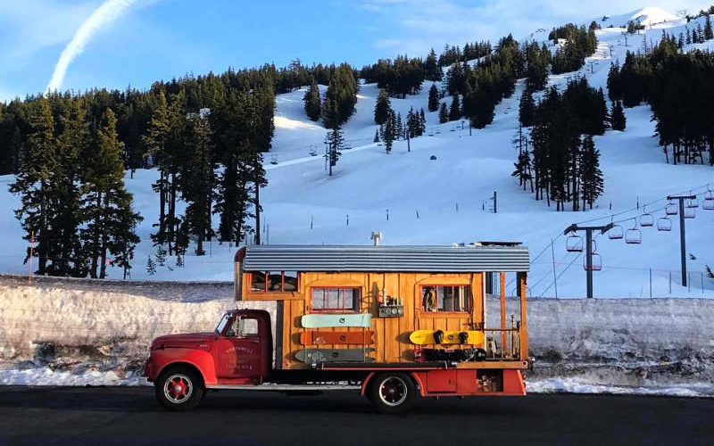 Pro snowboarder turns 1953 GMC fire truck into fancy home on wheels
