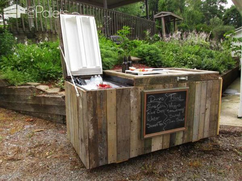 Rustic cooler from broken refrigerator and pallets