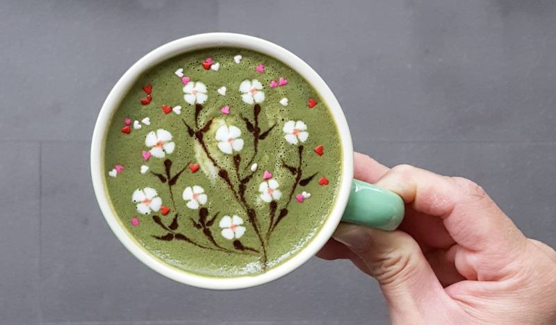 Floral latte art
