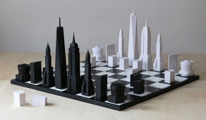Iconic architecture represents pieces of the Skyline Chess Set