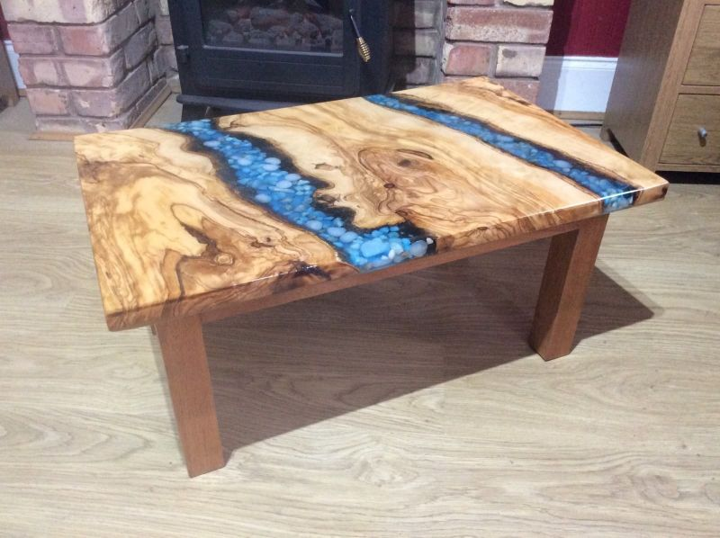Small live edge river coffee table by Arklight Design