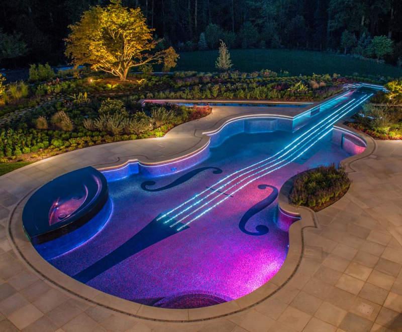 Stradivarius Violin-shaped Backyard Swimming Pool