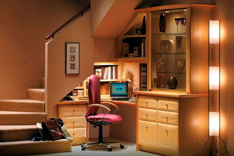 Study room or office under the stairs