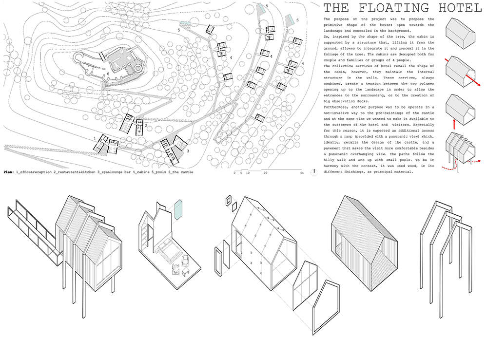 Young Architects Competitions in collaboration with Italian Government invited entries for the Castle Resort competition last year. Young architects and designers of different countries presented unique ideas for transforming the medieval Roccamandolfi castle into a one-of-a-kind holiday destination. Elias Terzitta and Eugenia Bordini of Italian design studio BSoD won the first prize of €10,000 for The Floating Hotel while Italian firms RGB and Vitia won 2nd and 3rd prizes, simultaneously. Every contestant came up with a unique idea but we are featuring the best entries from the competition below. The Floating Hotel by BSoD (1st Prize Winner) Members: Elias Terzitta, Eugenia Bordini Country: Italy This award-winning residential treehouse is elevated from the ground between trees and supported through a sturdy structure. Its design looks inspired from treehouse hotel that looks like floating in the mid air. To get best out of a mountain terrain, the treehouse façade has large glass windows that bring in loads of natural light and merge it with the surrounding area. Sightline by RGB (2nd Prize Winner) Members: Monica Bramanti, Stefano Gatti, Anna Rossi Country: Italy The design team proposed a pathway comprised of entertainment, accommodation and other elements molded into the surrounding landscape of the site. The design team wanted to create a connecting nature-filled pathway that visitors need to cross every time they are going to cabins and castle at the top. There will be black cabins and multi-functional units in between the pathway to the top for reading, relaxing and enjoying the panoramic views. Rest by Vitia (3rd Prize Winner) Members: Marco Testi, Sergio Vedovelli Country: Italy This concept revolves around creating tiny rest cabins where visitors can rest for a while and enjoy the mountain landscape. Over time, these cabins will dilapidate and become a shelter for shepherds and trekkers to the ancient Rocca. In near future, these cabins will also turn into ruins to match with the castle and the surrounding landscape.   Pedestal bridge by Aida (Gold Mention Team) Members: Thibaut Etcheverry, Romain Gaillard Country: France In the mission to create a tourist spot, the design team proposed to make a lightweight pedestrian bridge around the fortress that offer exceptional points of view of the prehistoric building to visitors. It will be elevated using less number of supports in order to make less impact on the surrounding environment. Moreover, there will be adjustable prefab shelters for travelers to relax. A landscape of folds by EFesto (Gold Mention Team) Members: Gaia Cella, Gaspar Canepa, Juan Octavio Ferreyra, Aleksandra Lukianova Country: Mexico In this project, the design team proposed to create a meandering corridor that can be used to navigate through the resort. Along with the walking platform, there will be hotel rooms, library, and restaurant in deep serenity. The cabins are integrated into the landscape to offer tranquility without disturbing natural beauty of the site. Bulb-shaped cabins by Alessandro De Nigris (Gold Mention Team) Members: Alessandro De Nigris, Marco Ansalone Country: Italy This project tries to establish a relation between architecture and nature. The design team has thought of placing bulb-shaped structures all around the construction site so that visitors have full freedom to stay at desired locations. New Castle Resort by Gregory De Giacomi (Gold Mention Team) Members: Gregory De Giacomi Country: Italy The designer's approach is to place main accommodations as a single recognizable building while Castle apartments, treehouse hotels, and tiny landscape hotels are meant to be hidden from the immediate sight so that guests have to search for them. A plinth and pavilion on the top are two simple additions to connect all things together with the ruined castle.