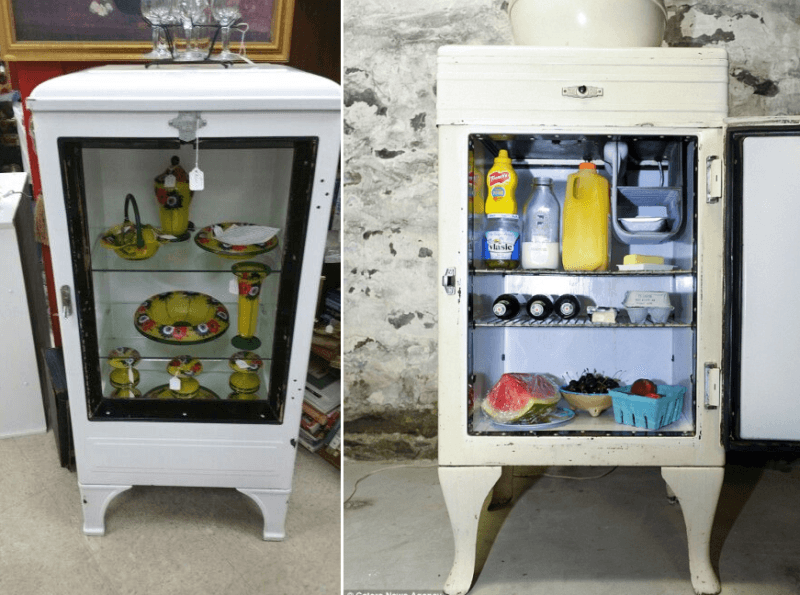 refrigerator end table. turn your old refrigerator into a kitchen cabinet end table