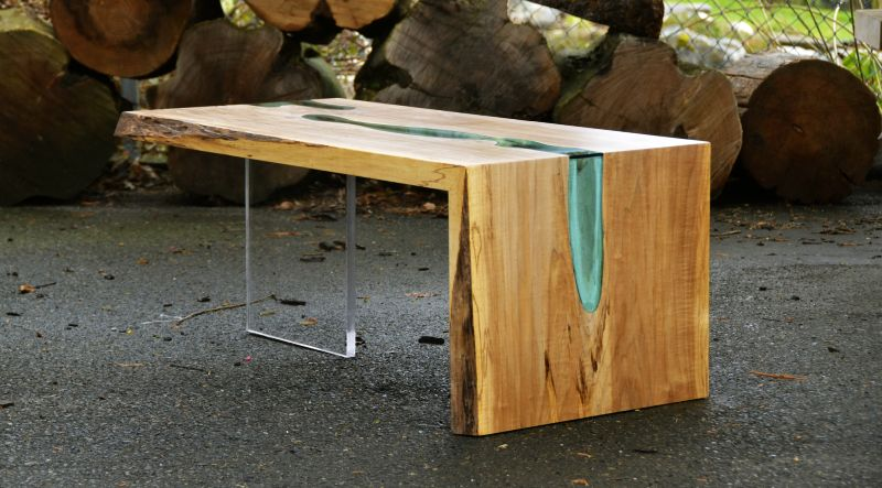 Unique wood and glass river table by Greg Klassen
