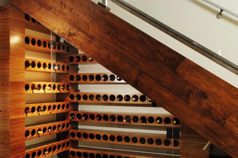 Build a wine rack under the stairs