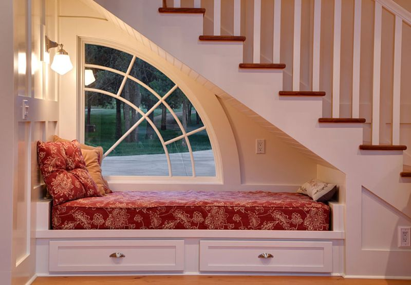 bed under stairs