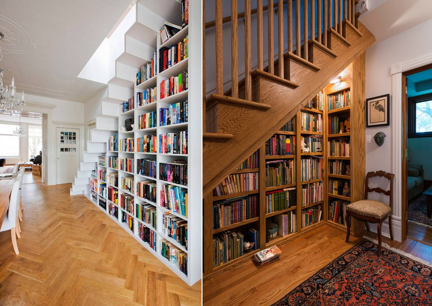 Book shelves under staircase