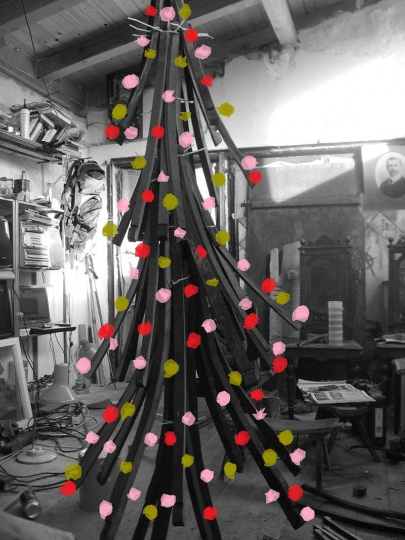 christmas tree made from old barrel