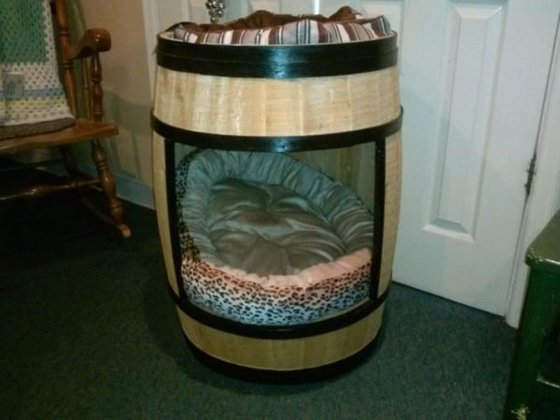 dog bed from old wine barrel