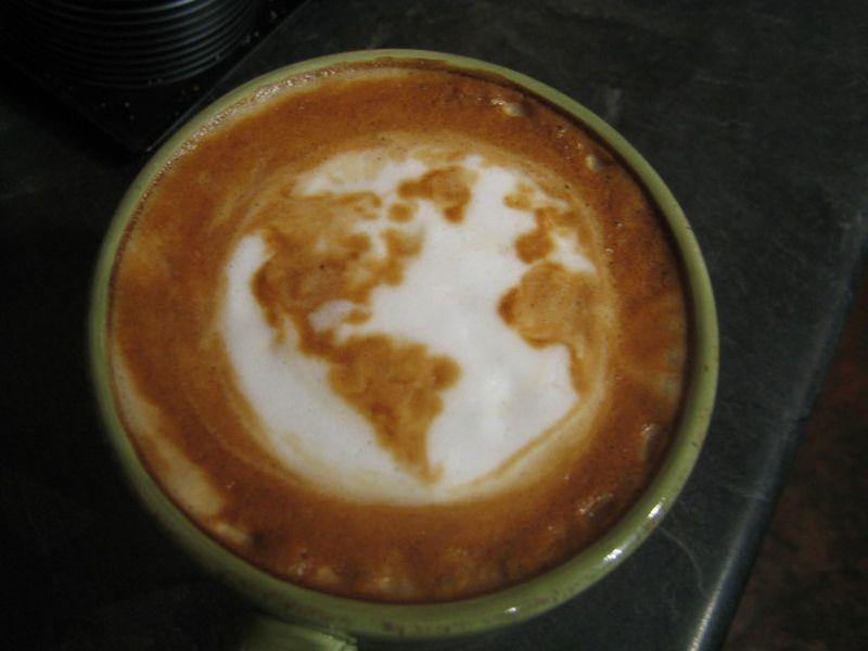 Globe earth latte art