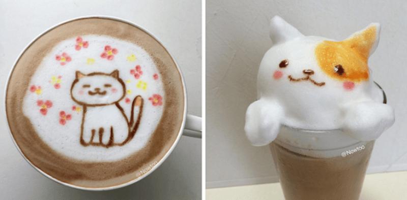 game inspired kitty latte art