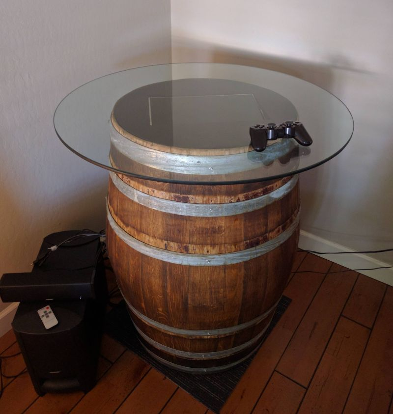 Retro pie game table made from old wine barrels