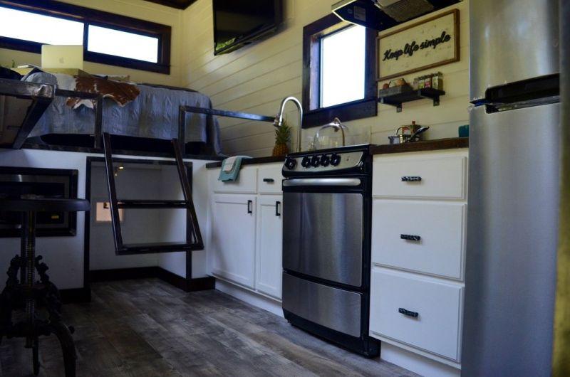 Kitchen area of house on wheels