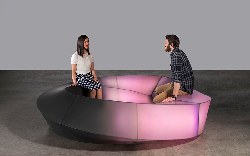 This interactive bench lights up with your tender touch