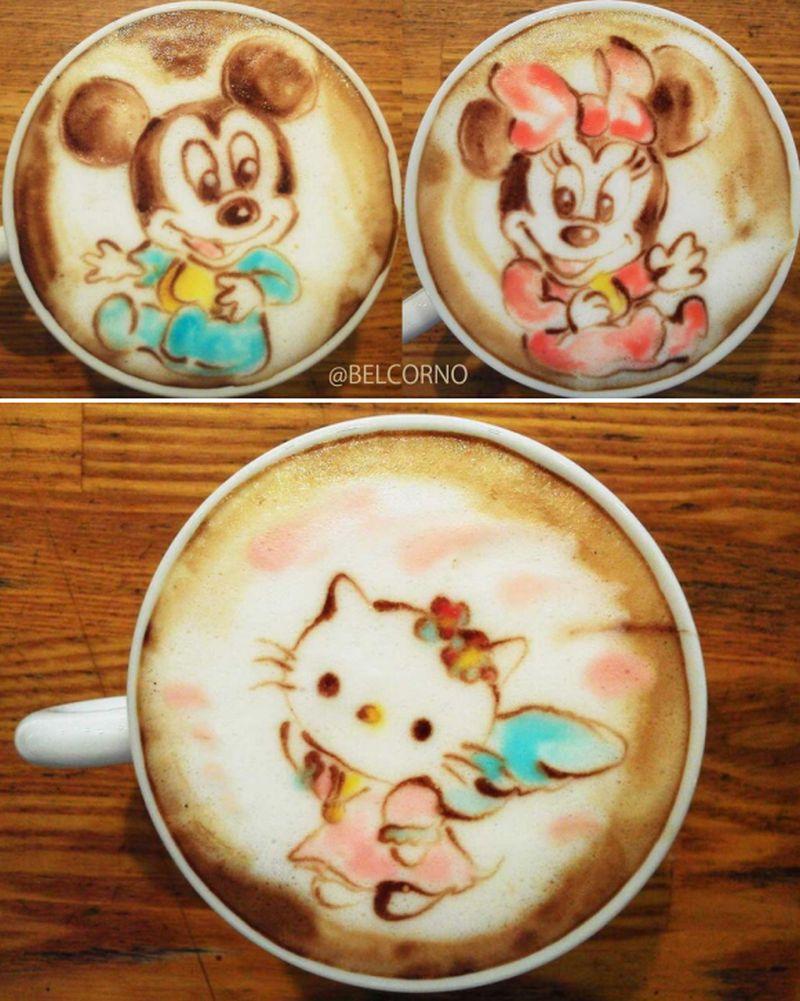 latte art disney cartoons