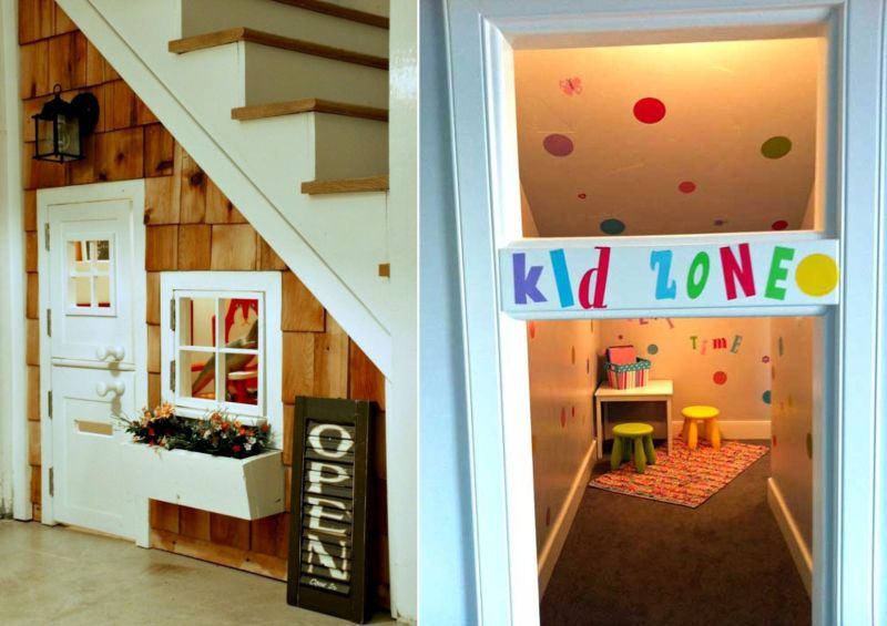 create a playroom under the stairs for your kids