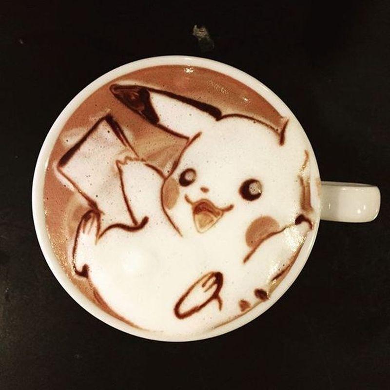 pokemon latte art