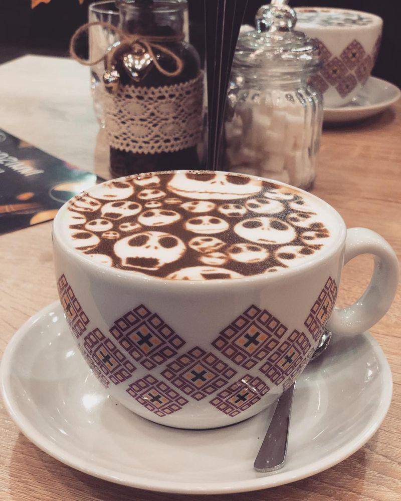 spooky latte art