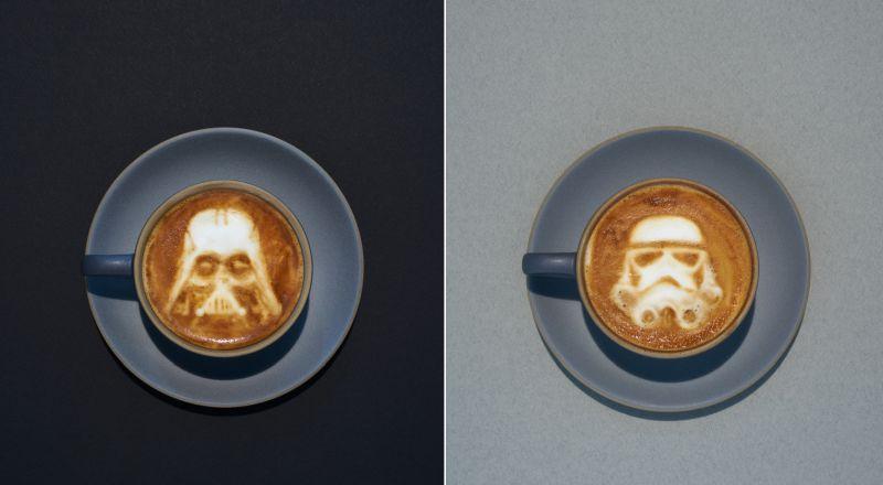 Stormtrooper and Darth Vader star wars latte art