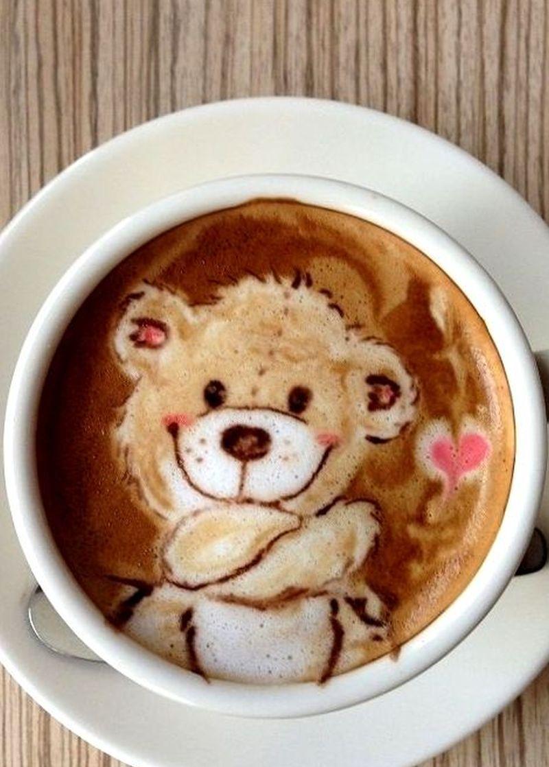 teddy coffee latte art