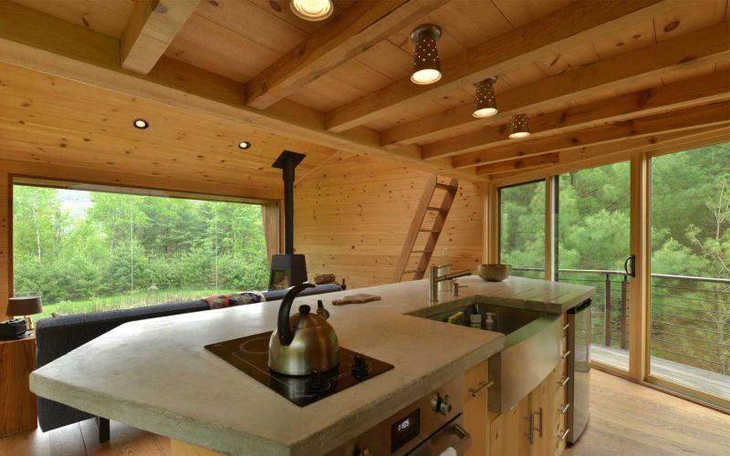 Woodstock's angled-shaped geometric treehouse kitchen