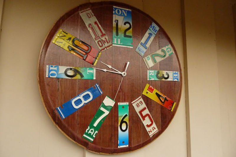 wall clock made from old wine barrel