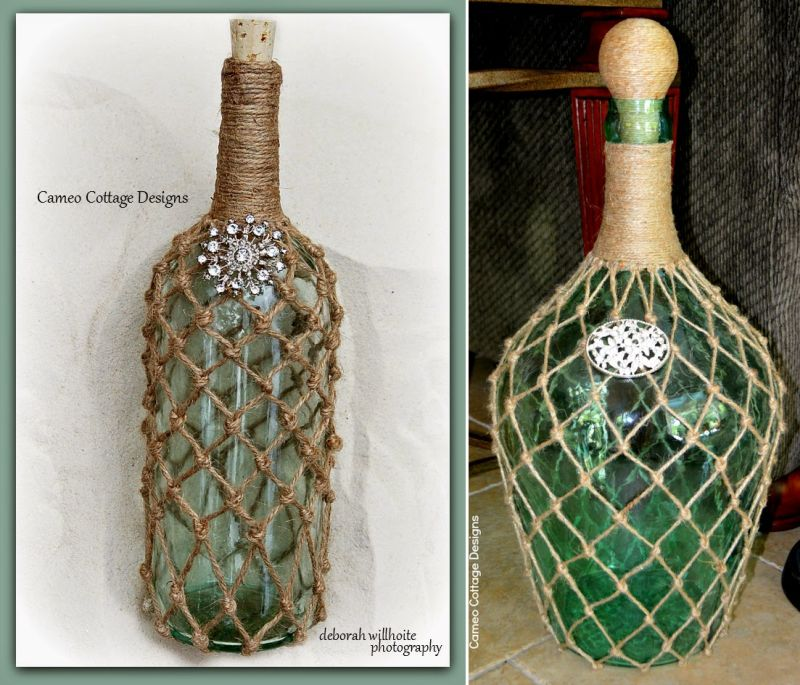 Netted Jute Bottles by Cameo Cottage Designs