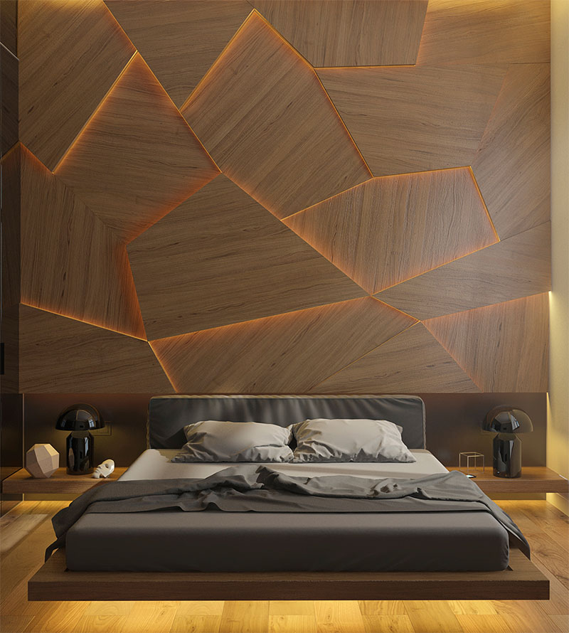 Geometric back lit wooden accent wall