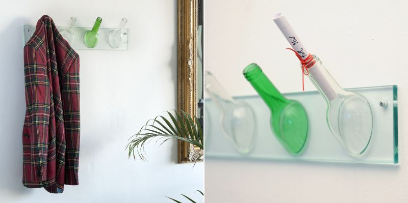 Wine bottle hook for hanging clothes