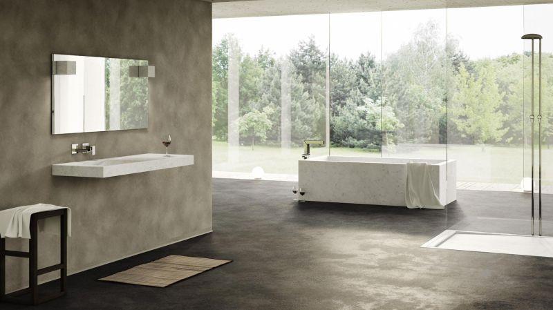 Monolithic marble bathtub by Dedalo Stone