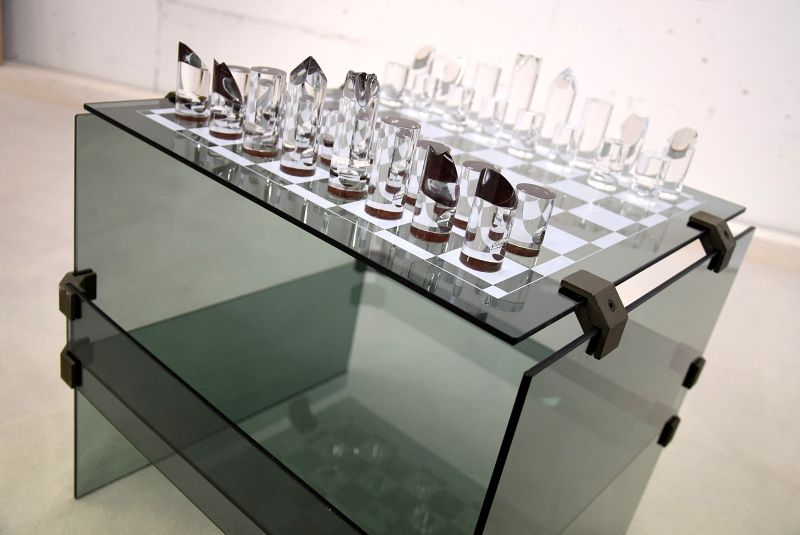 1970s Glass Chess Set